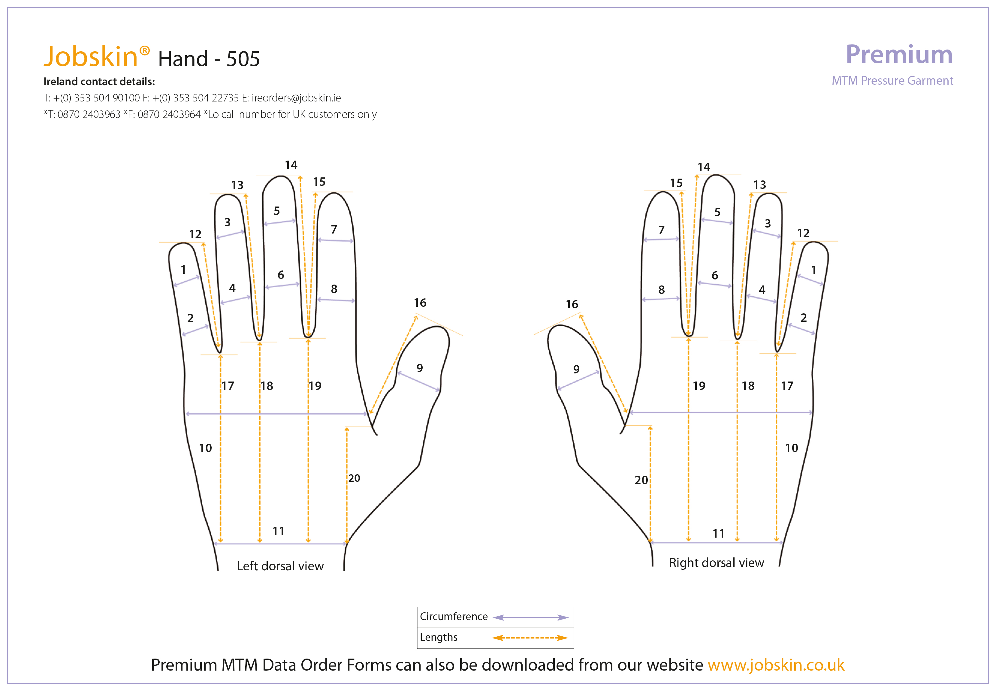 Hand measure form