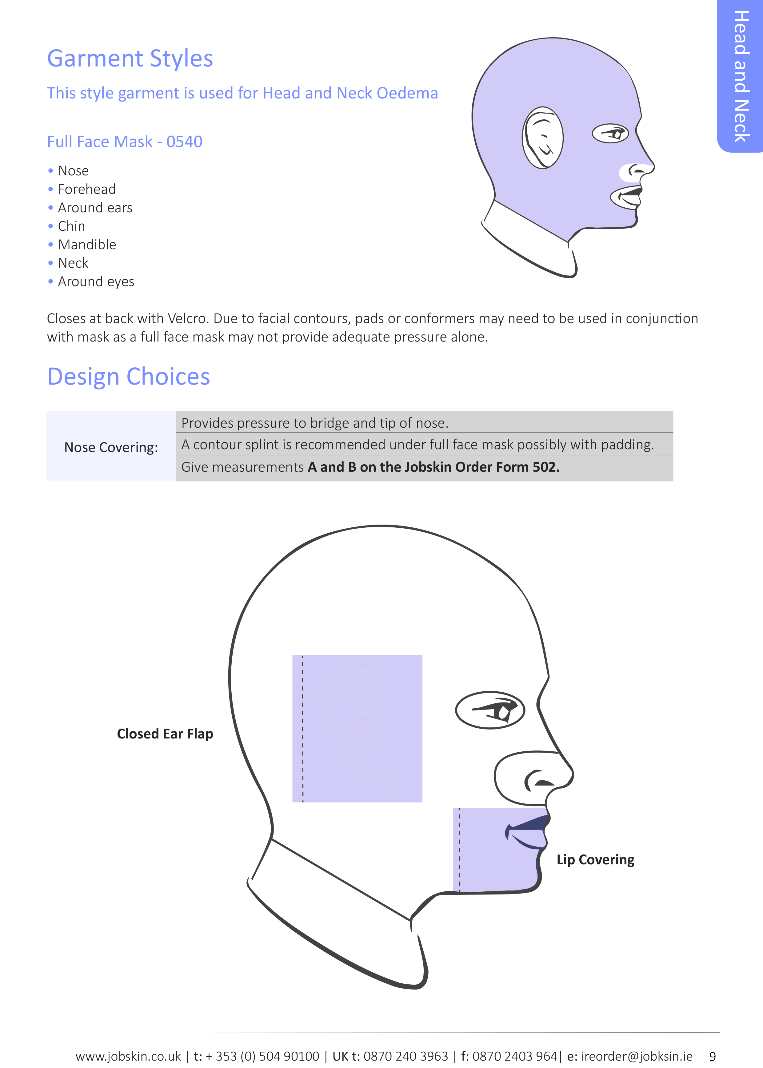 Head and neck design choices